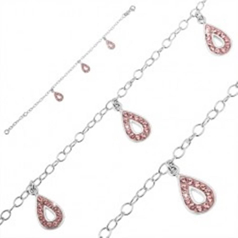 Šperky eshop Náramok zo striebra 925 - tri slzičkové prívesky, ružové zirkóny