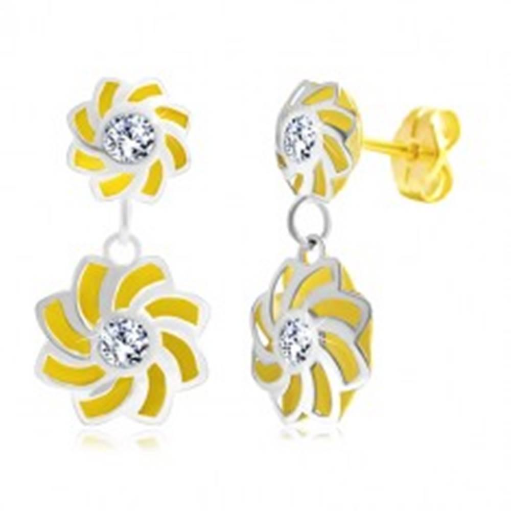 Šperky eshop Náušnice v 14K zlate - dvojfarebné kvety so zatočenými lupeňmi a zirkónom