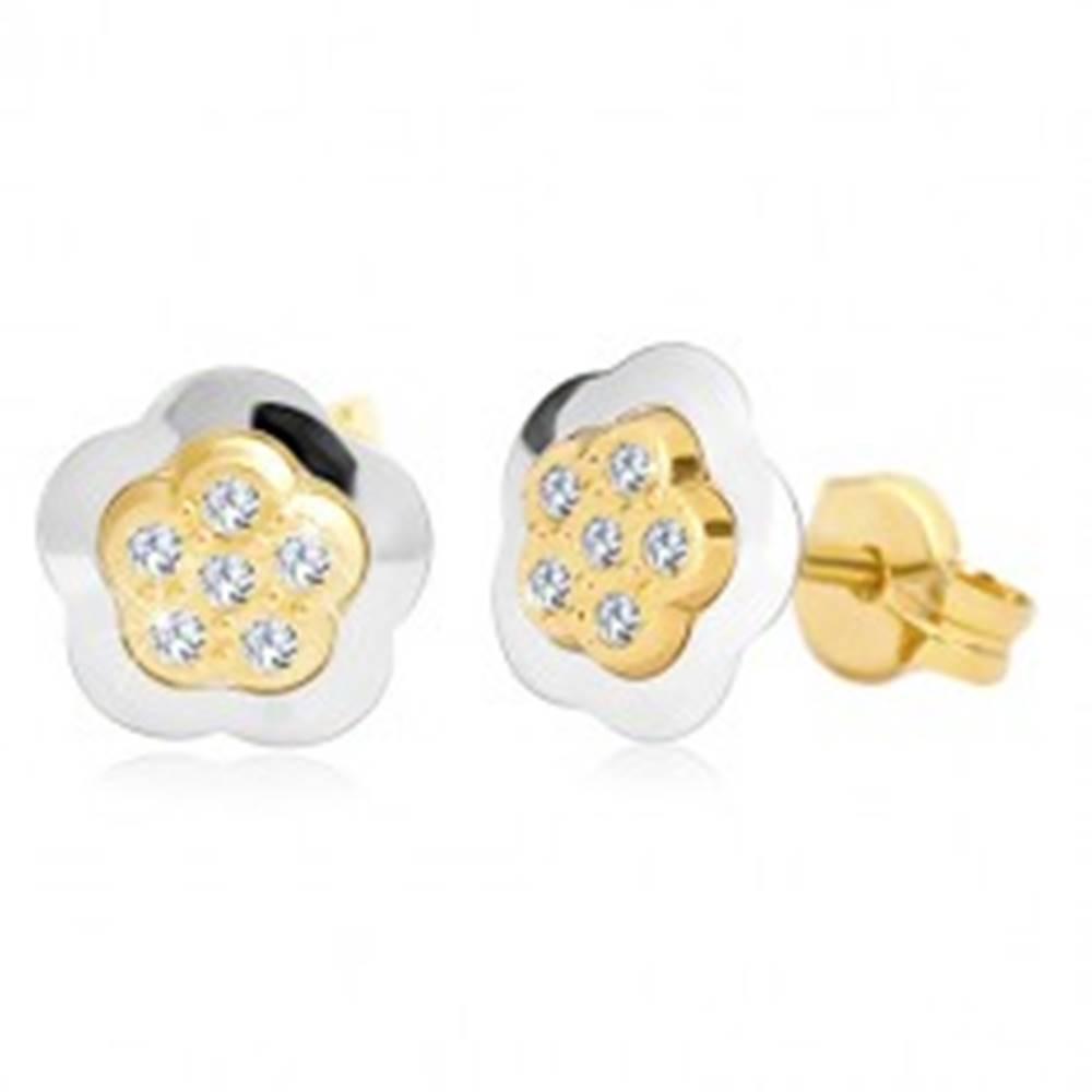 Šperky eshop Náušnice v 14K zlate - dvojfarebný kvet so vsadenými čírymi zirkónmi