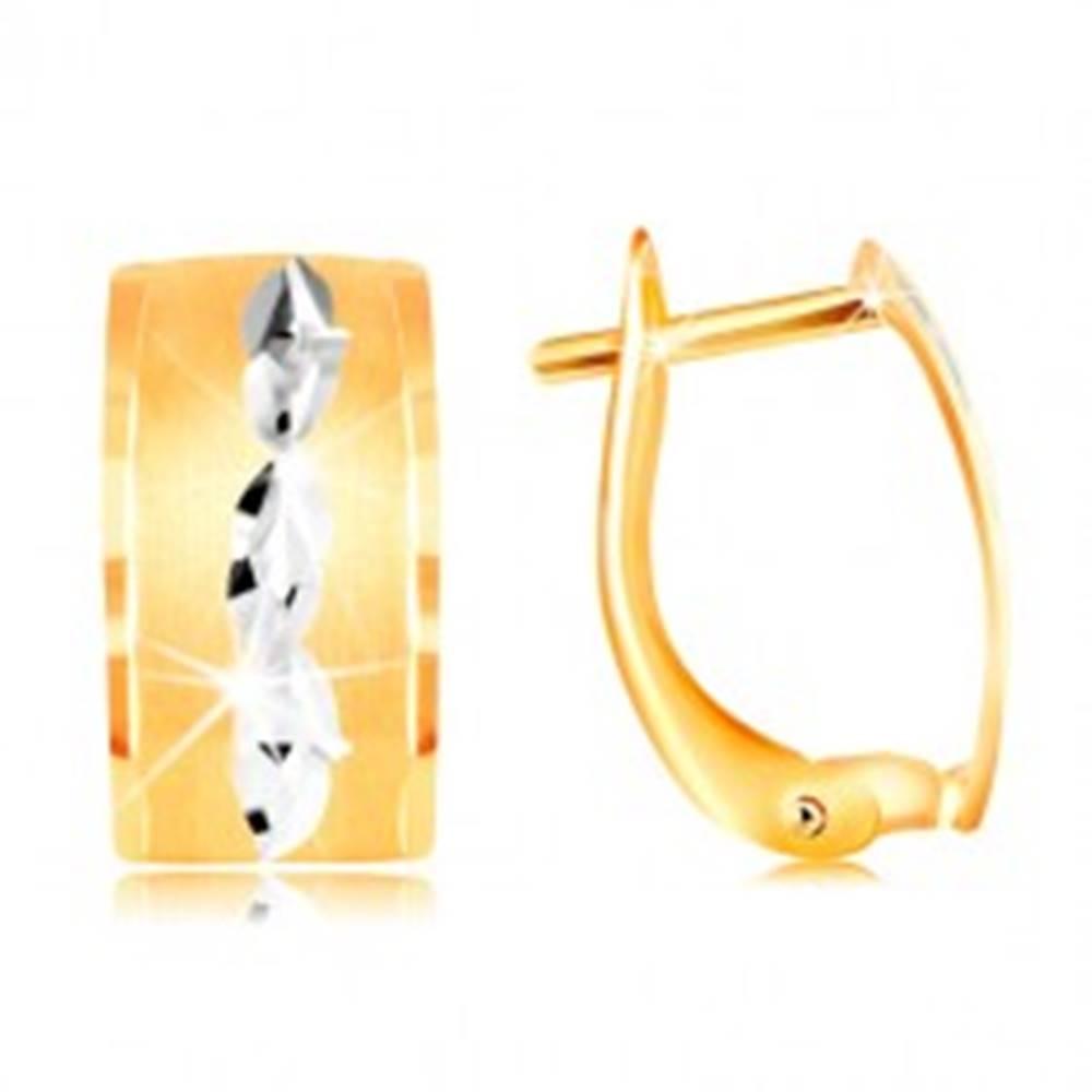 Šperky eshop Náušnice v 14K zlate - matný pás so zrnkami z bieleho zlata a zárezov