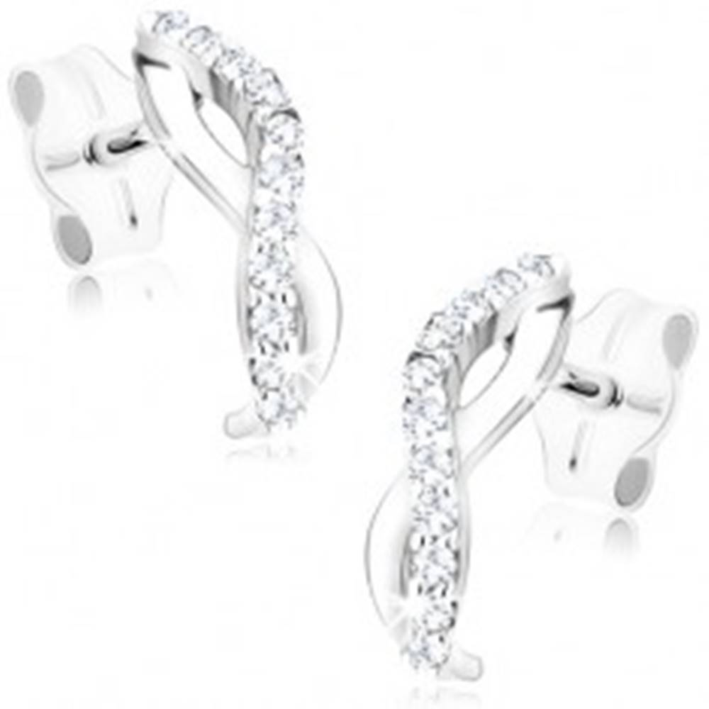 Šperky eshop Náušnice v bielom 9K zlate - dve vlnky zahnuté do oblúka, číre zirkóny