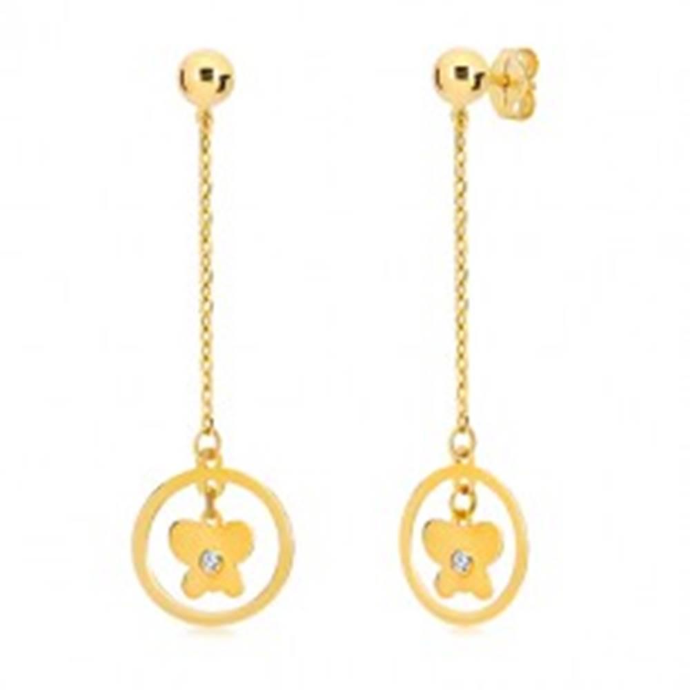 Šperky eshop Náušnice v žltom 14K zlate - obruč s motýľom visiaca na retiazke
