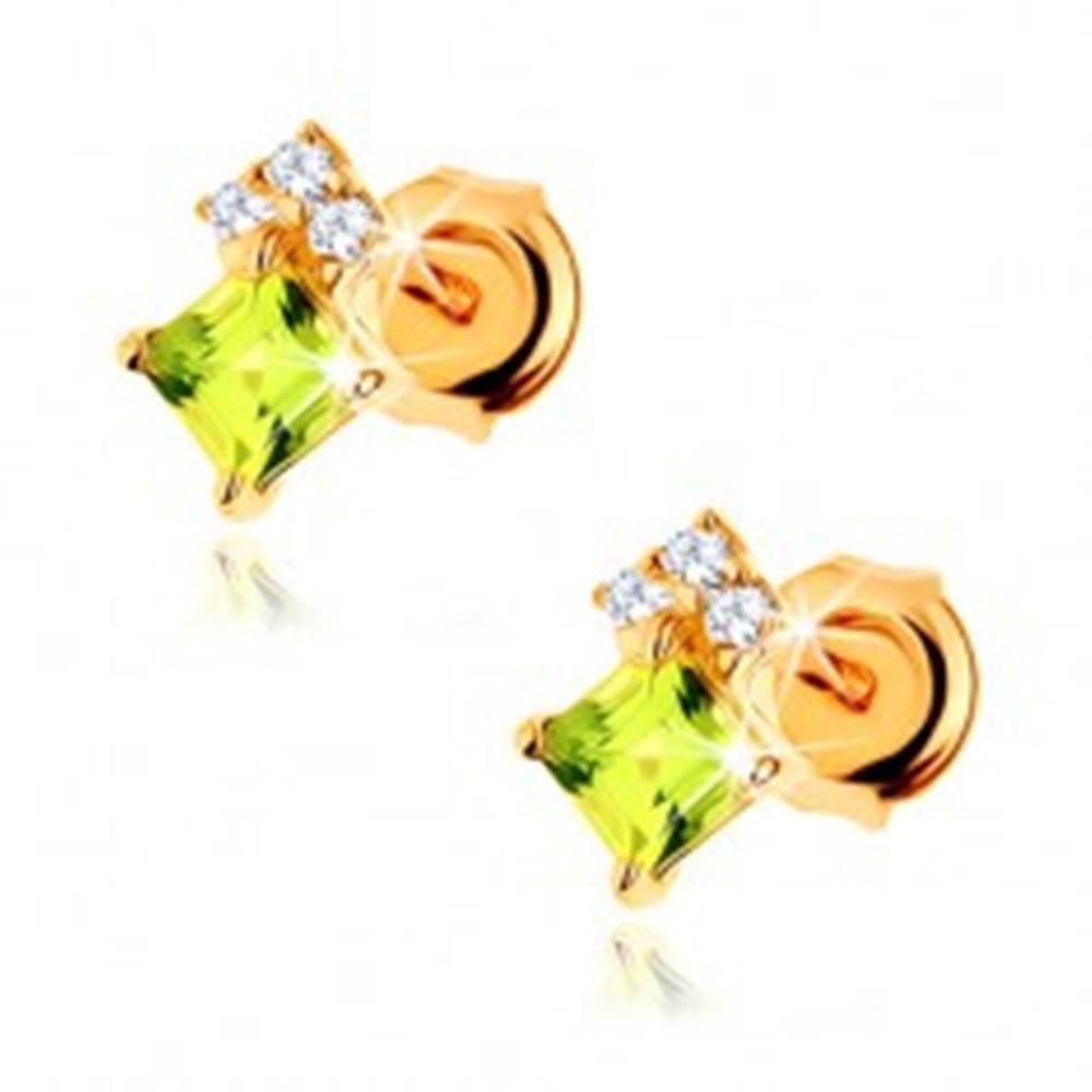 Šperky eshop Náušnice v žltom 14K zlate - olivínový štvorček svetlozelenej farby, číre zirkóny