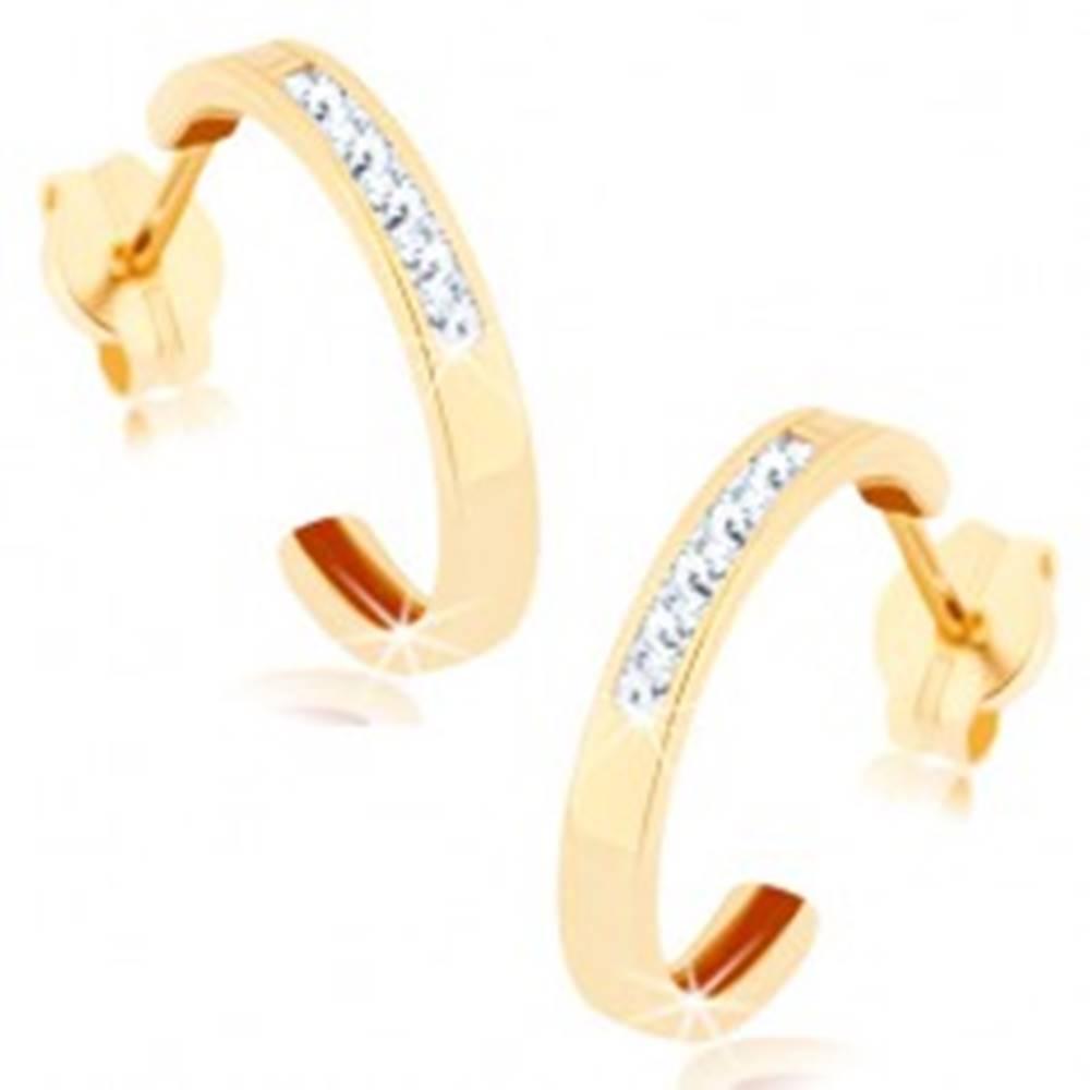 Šperky eshop Náušnice v žltom 9K zlate - polkruh zdobený líniou čírych zirkónov