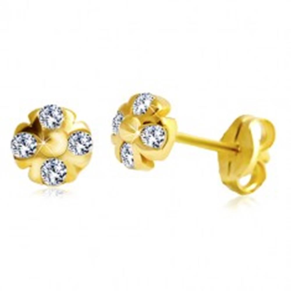 Šperky eshop Náušnice zo žltého 14K zlata - kvietok s guľôčkou v strede a čírymi zirkónmi