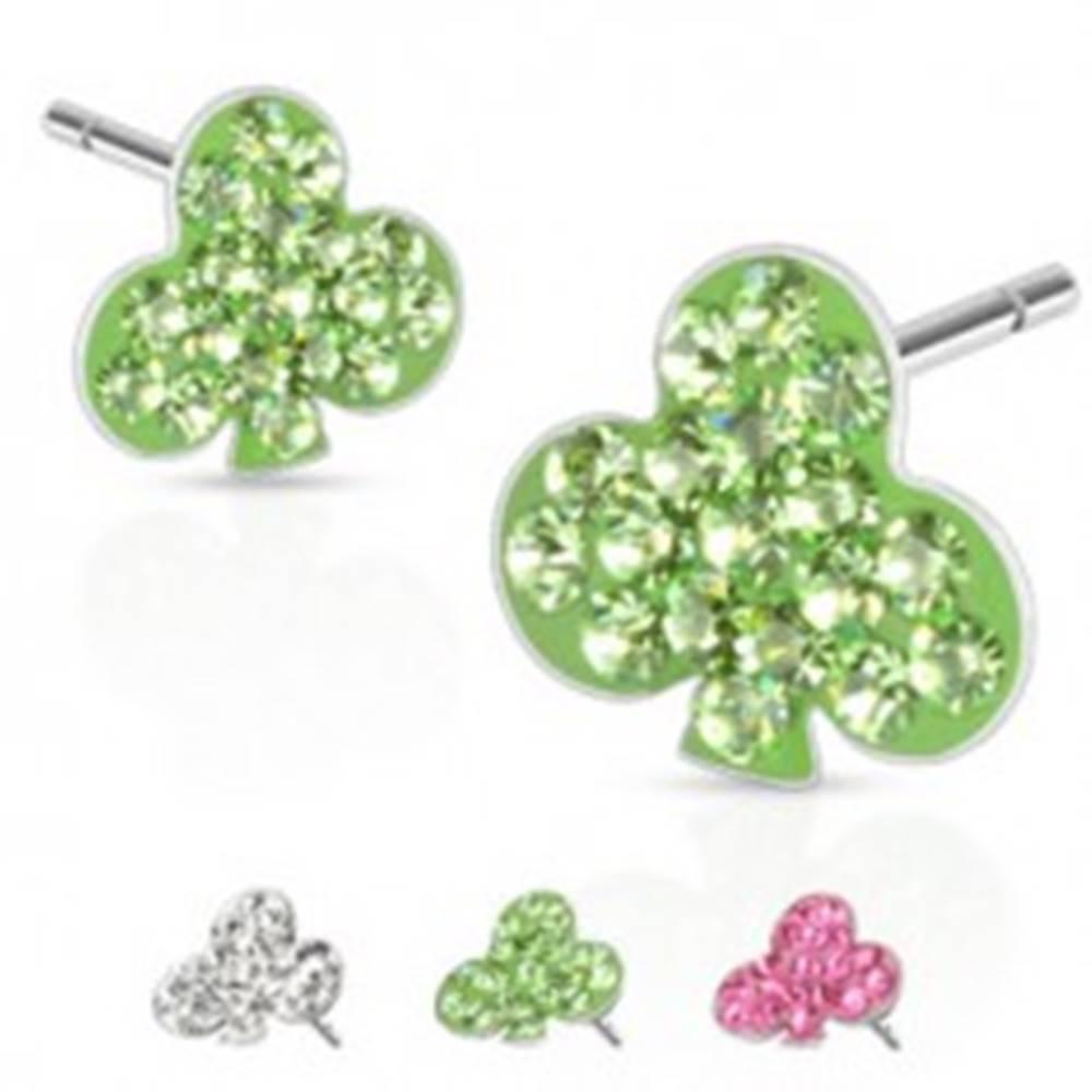 Šperky eshop Oceľové náušnice - kartový symbol trojlístok, kamienky, puzetka - Farba: Číra