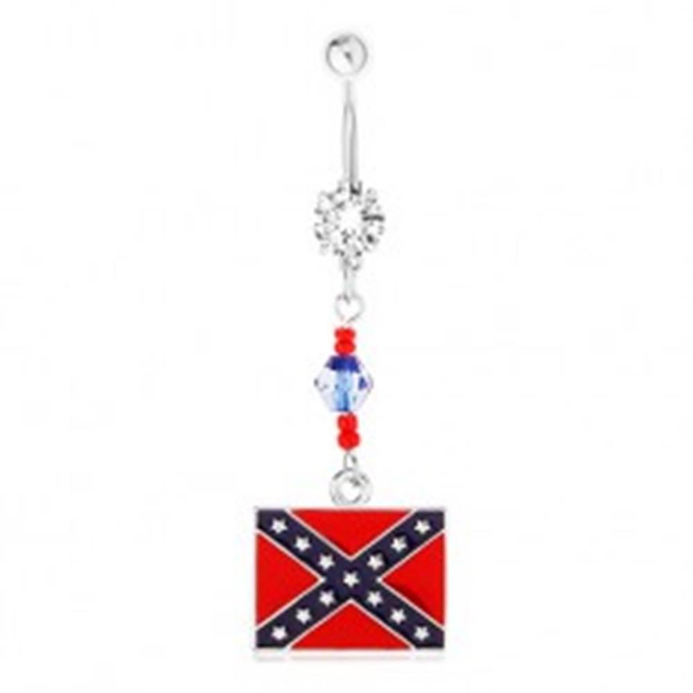 Šperky eshop Oceľový piercing do brucha, číry zirkón, korálky, motív konfederačnej vlajky