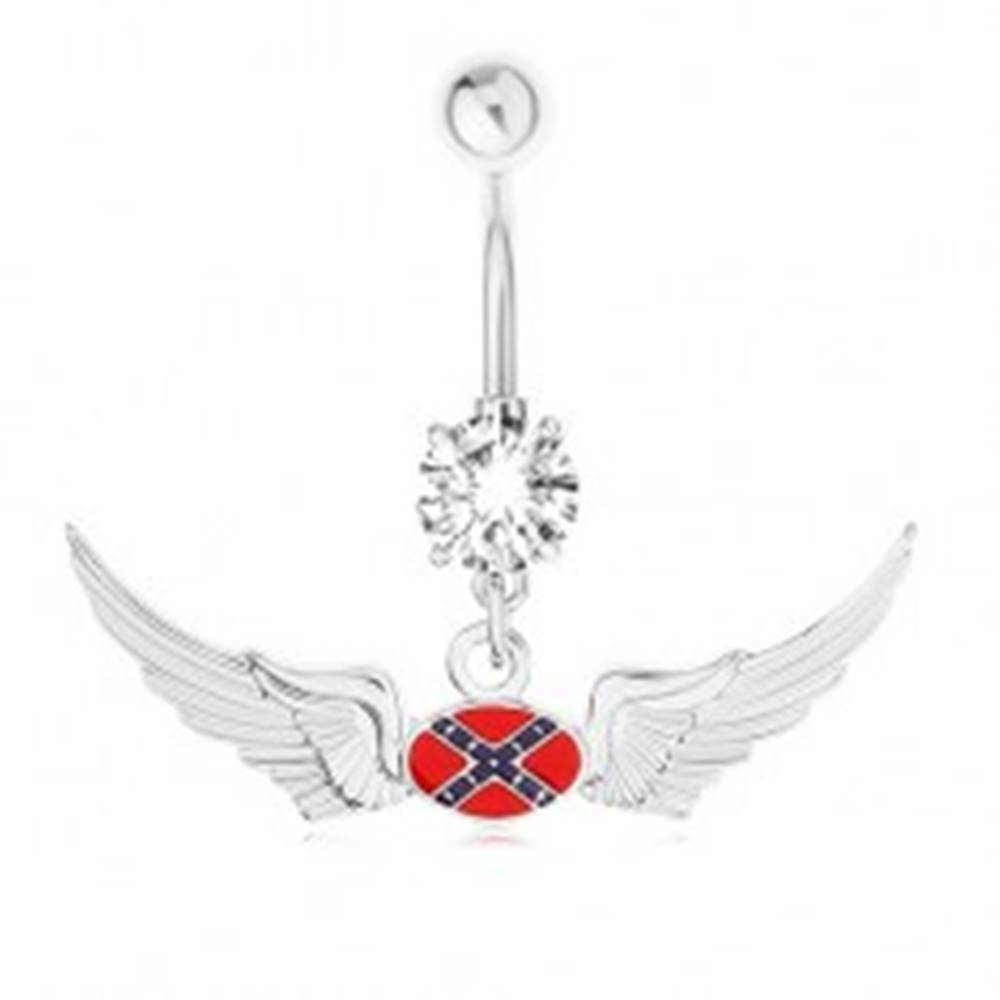 Šperky eshop Oceľový piercing do bruška, zirkón, motív vlajky Konfederácie, krídla