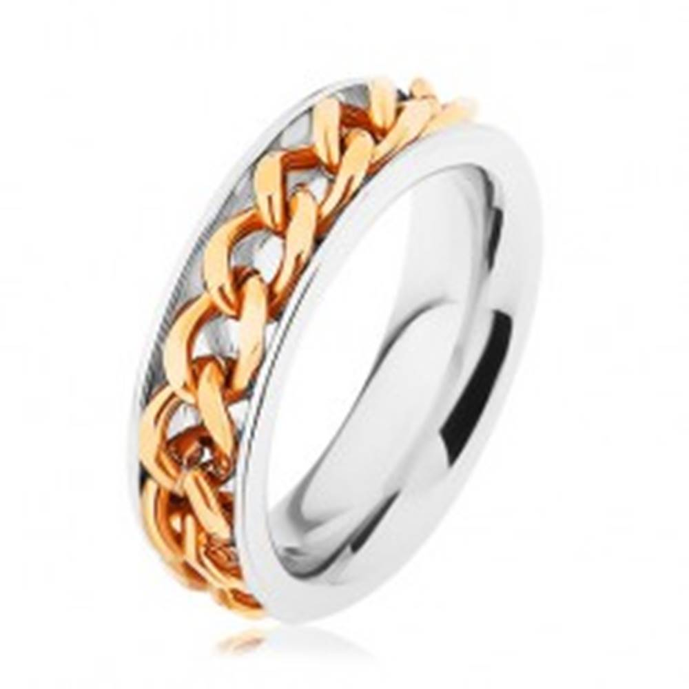 Šperky eshop Oceľový prsteň, retiazka zlatej farby, zrkadlový lesk - Veľkosť: 51 mm