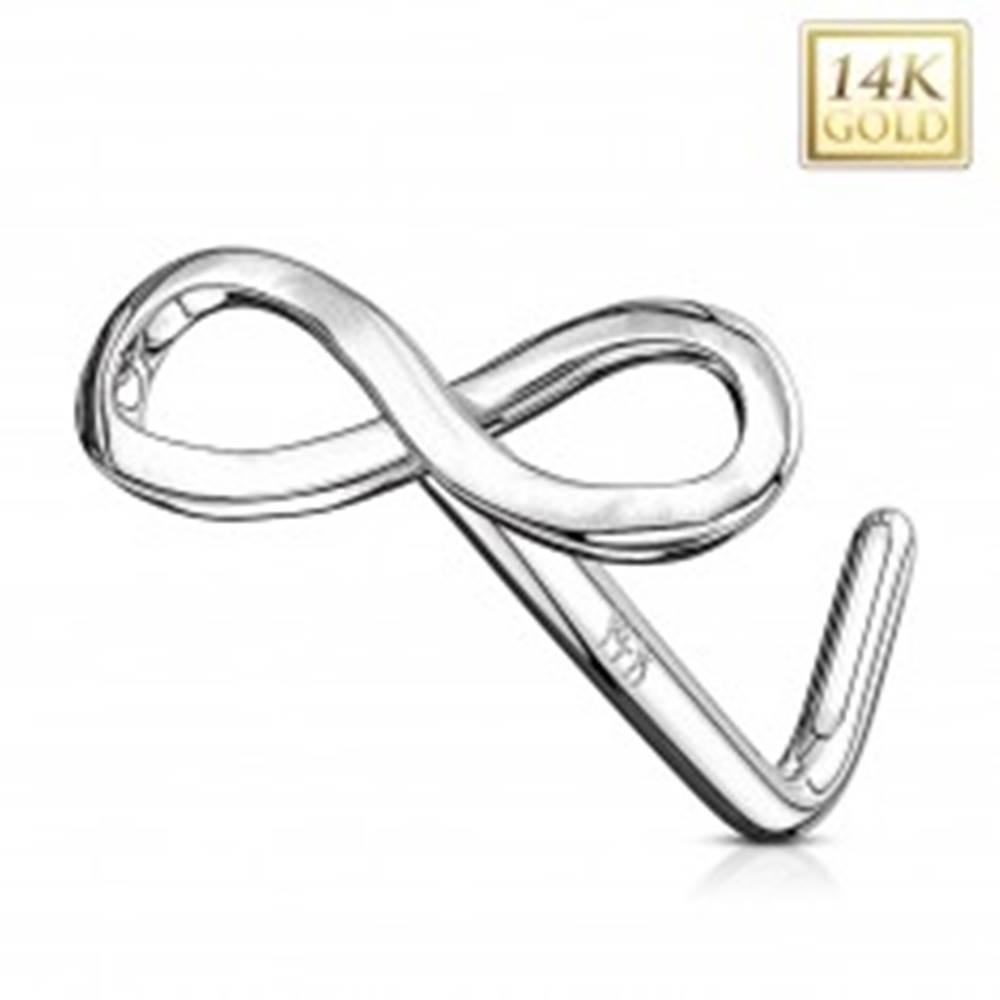 Šperky eshop Piercing do nosa z bieleho 14K zlata - lesklý symbol nekonečna