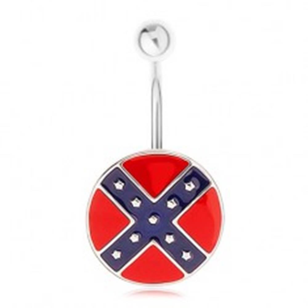 Šperky eshop Piercing do pupka z ocele 316L, kruh s motívom južanskej vlajky