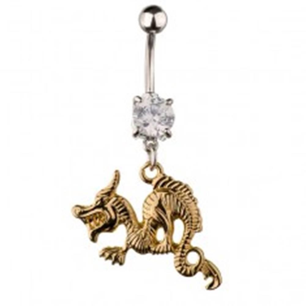 Šperky eshop Piercing do pupka z ocele - zúrivý drak zlatej farby