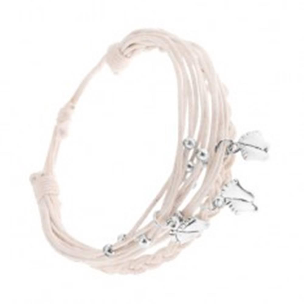 Šperky eshop Pletený náramok z bielych motúzikov, prívesky z ocele - nôžky, guličky