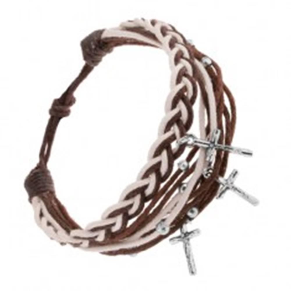 Šperky eshop Pletený náramok zo šnúrok, hnedá a biela farba, prívesok - Ježiš na kríži