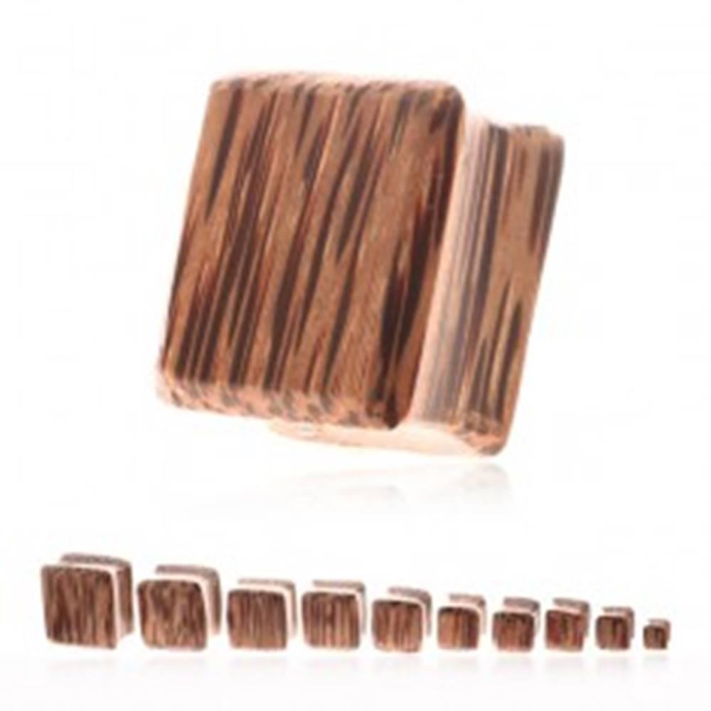 Šperky eshop Plug do ucha - kokosové drevo v tvare štvorca - Hrúbka: 10 mm
