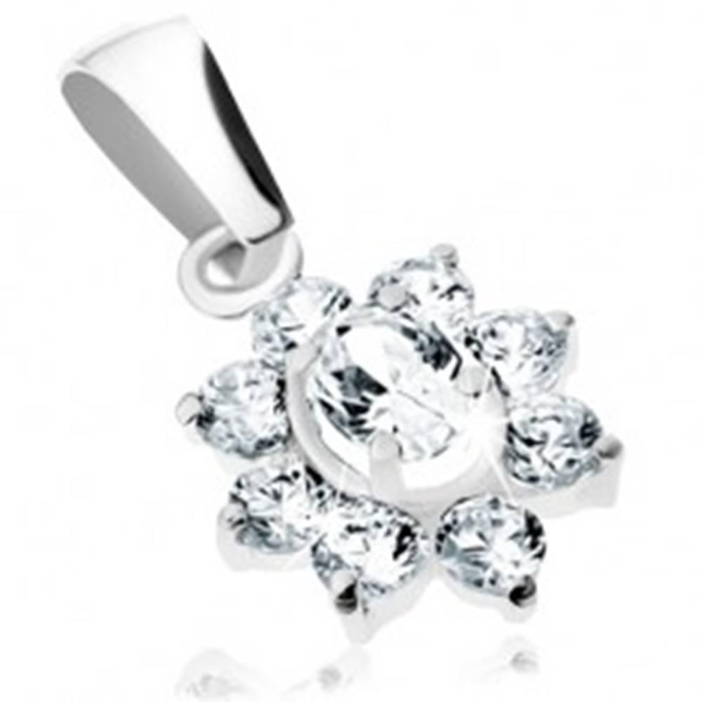 Šperky eshop Prívesok z bieleho 9K zlata - ligotavý zirkónový kvietok, číra farba