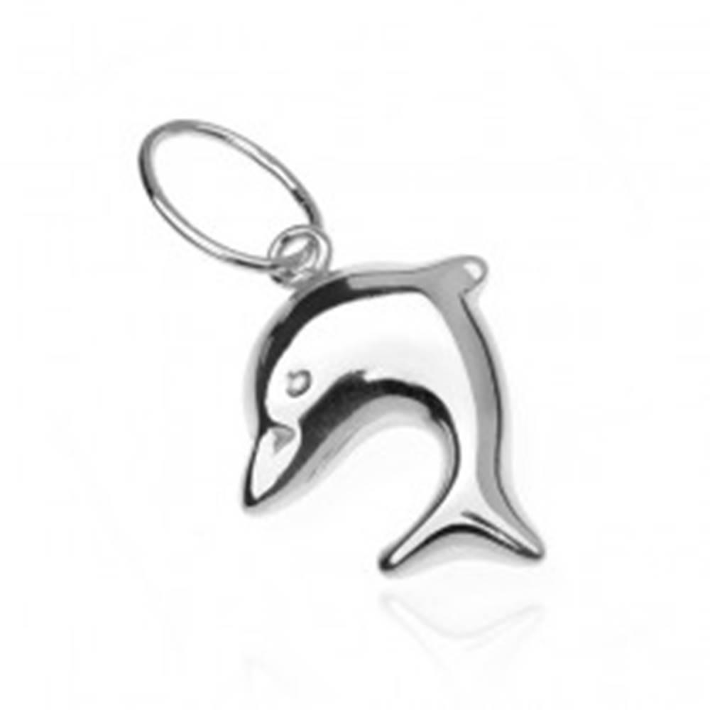 Šperky eshop Prívesok zo striebra 925 - skákajúci baby delfín, obojstranný