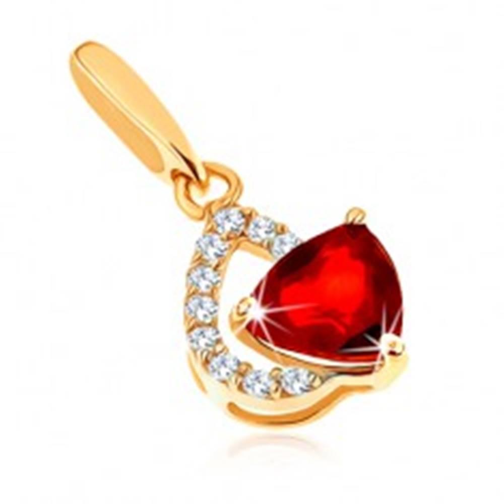 Šperky eshop Prívesok zo žltého 14K zlata - číry zirkónový obrys slzy, červený granát