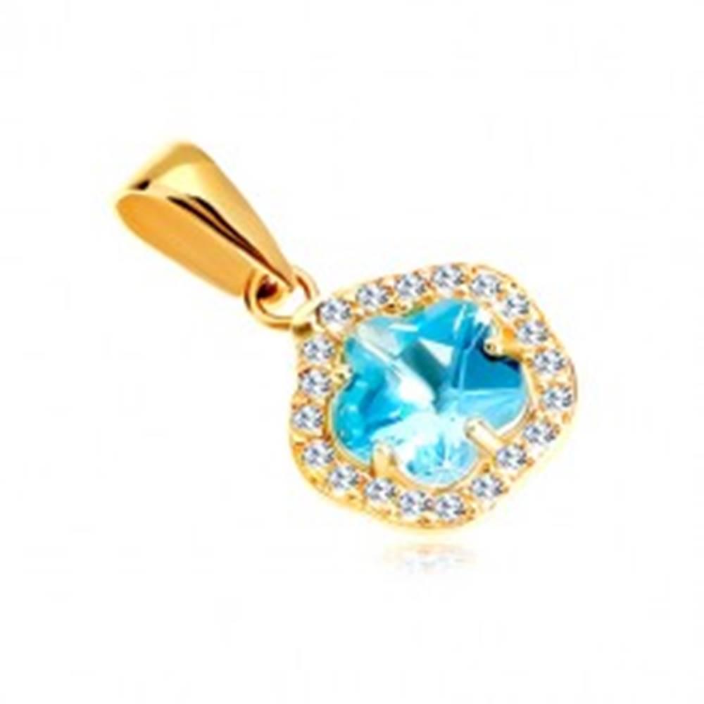 Šperky eshop Prívesok zo žltého 14K zlata - kvet z modrého syntetického akvamarínu a zirkónov