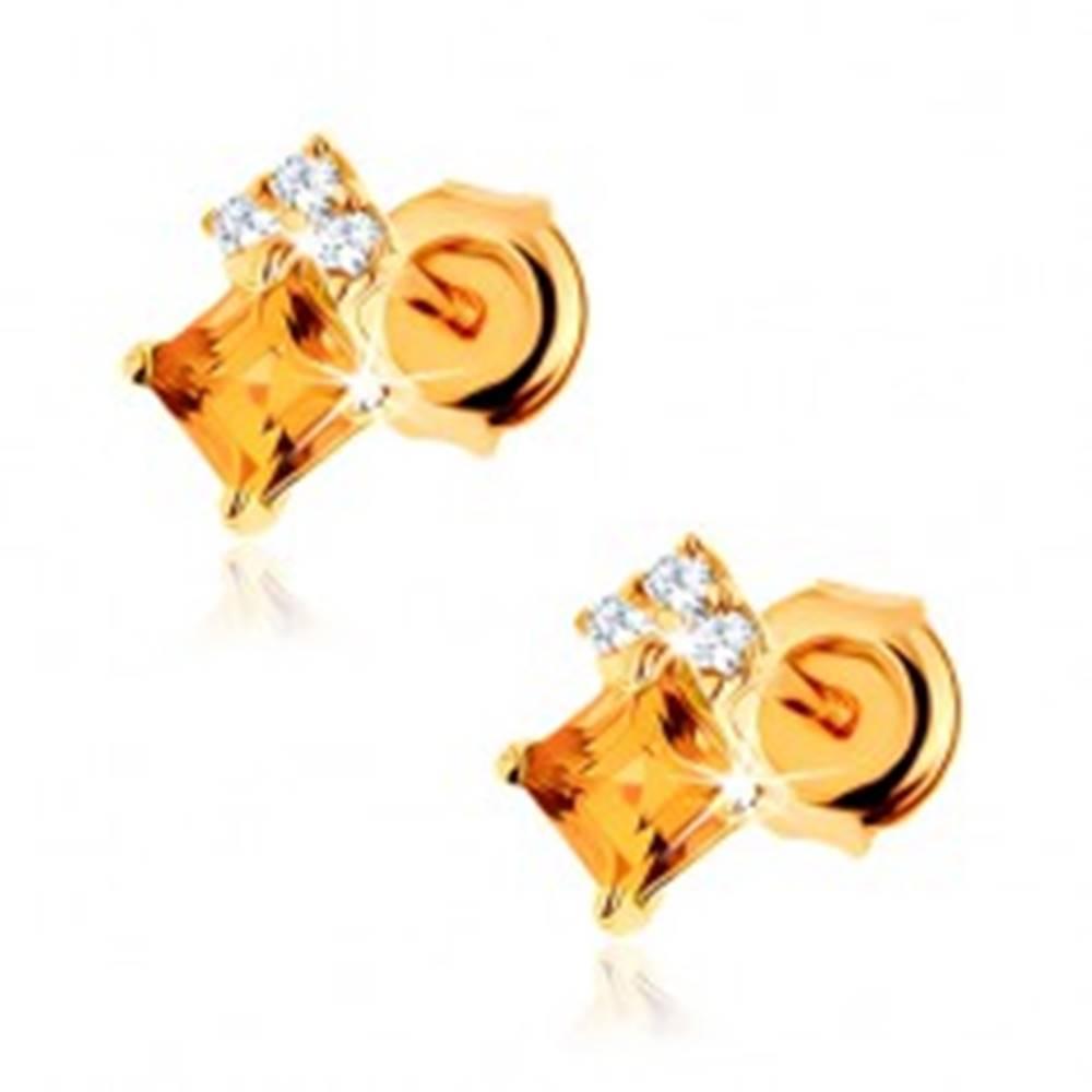 Šperky eshop Puzetové náušnice v žltom 14K zlate - štvorcový žltý citrín, zirkóny čírej farby