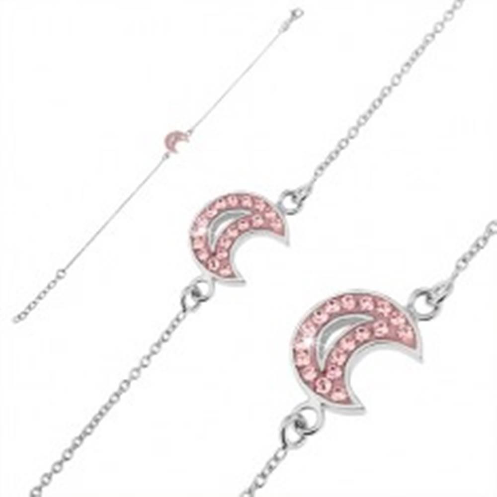 Šperky eshop Retiazka na ruku zo striebra 925 - mesiac s ružovými zirkónmi