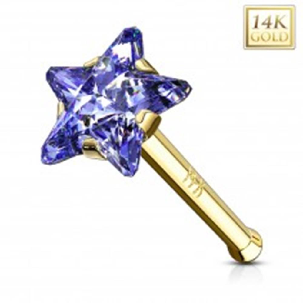 Šperky eshop Rovný zlatý 585 piercing do nosa - zirkónová hviezda v modrofialovom odtieni