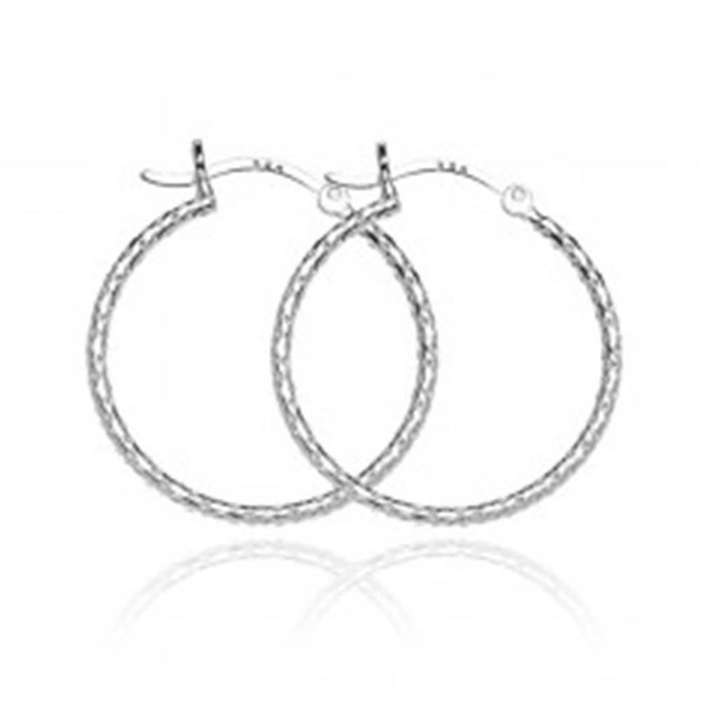 Šperky eshop Strieborné kruhové náušnice 925 - štruktúrovaný povrch, 25 mm