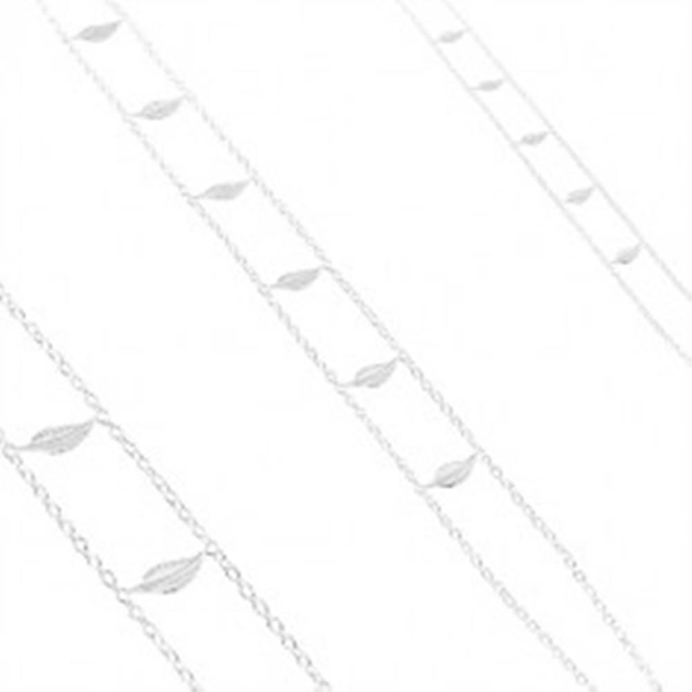 Šperky eshop Strieborný náhrdelník 925, dvojitá retiazka, lesklé gravírované listy