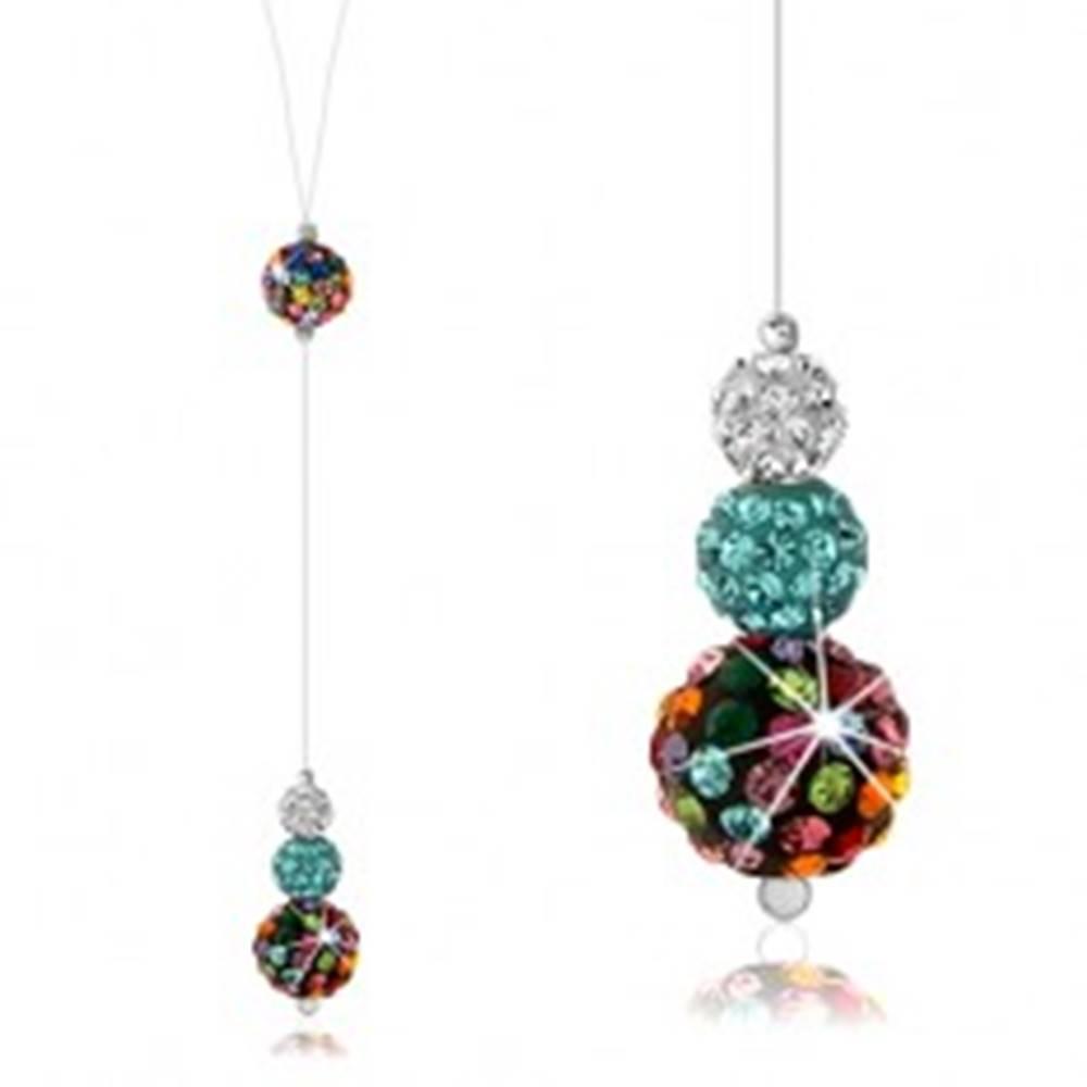 Šperky eshop Strieborný náhrdelník 925, silon, farebné guľôčky zdobené Preciosa kryštálmi