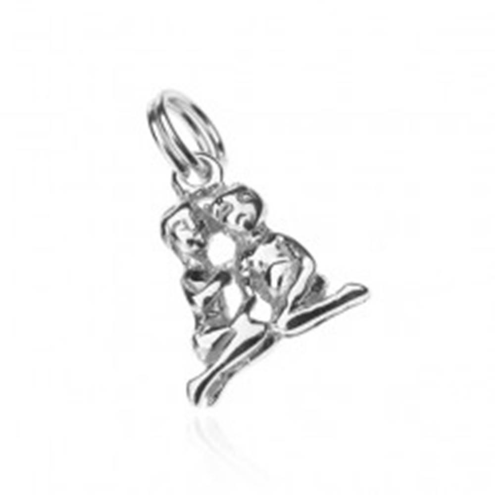 Šperky eshop Strieborný prívesok 925 - kľačiaci blíženci