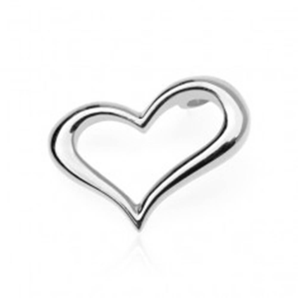 Šperky eshop Strieborný prívesok 925 - zvlnené obrysové srdce, bočné uchytenie