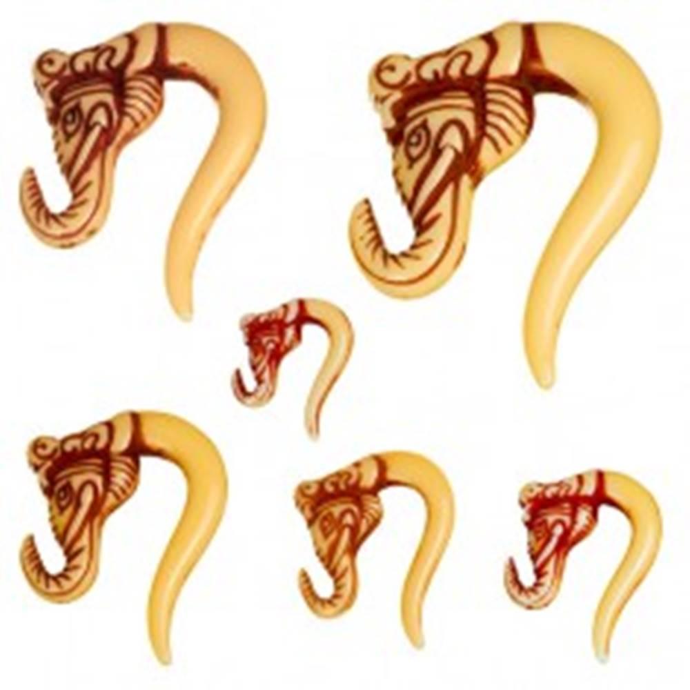 Šperky eshop Taper do ucha - slonia hlava, hnedý - Hrúbka: 10,5 mm