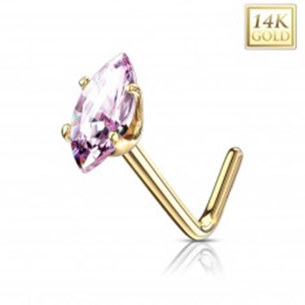 Šperky eshop Zahnutý piercing do nosa, žlté 14K zlato - ružové zirkónové zrnko