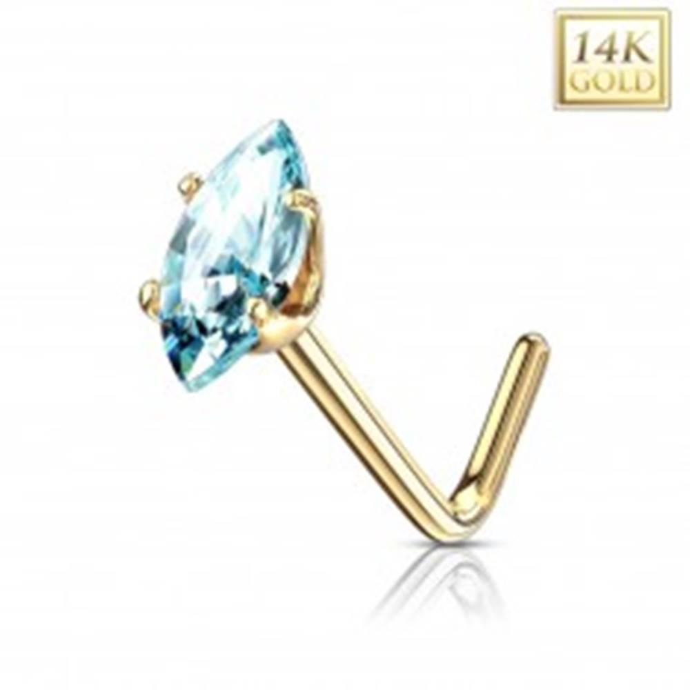 Šperky eshop Zahnutý piercing do nosa, žlté zlato 585 - svetlomodrý zrnkový zirkón
