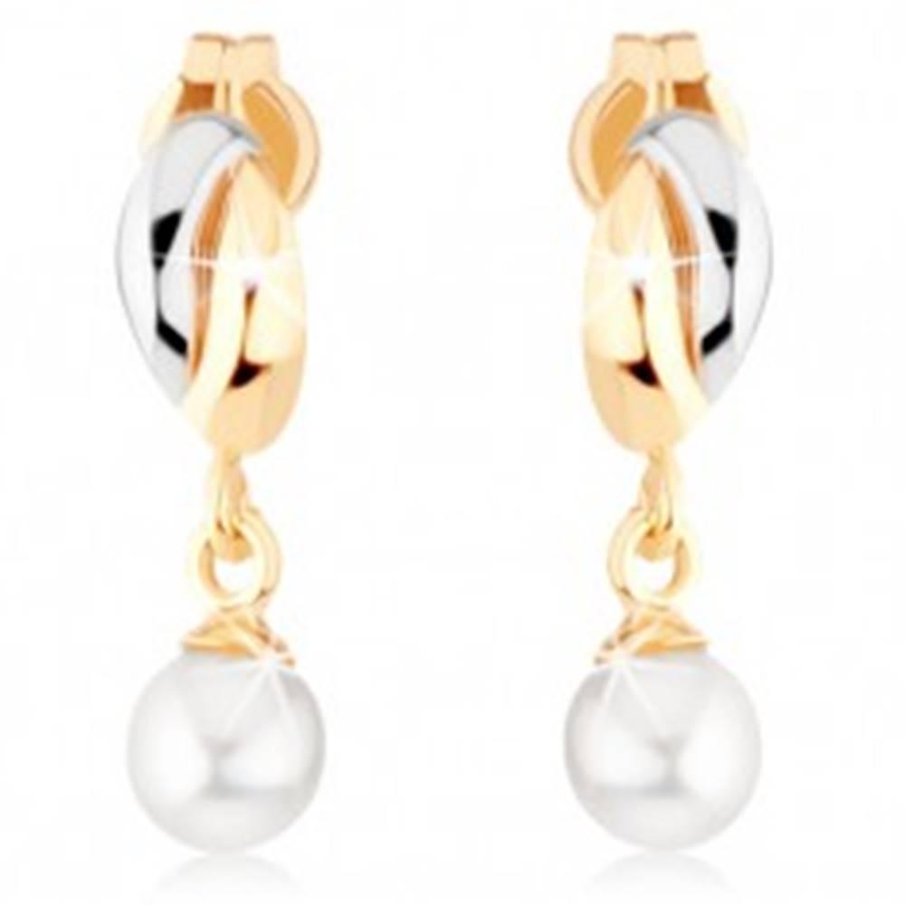 Šperky eshop Zlaté náušnice 375 - dvojfarebné oblúčiky, biela guľatá perlička
