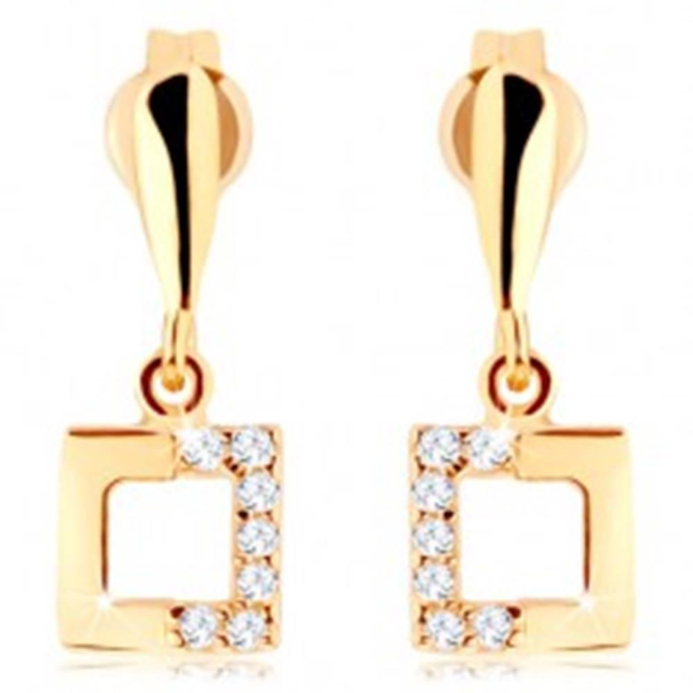 Šperky eshop Zlaté náušnice 375 - kontúra štvorca so zirkónovou polovicou, úzka slza