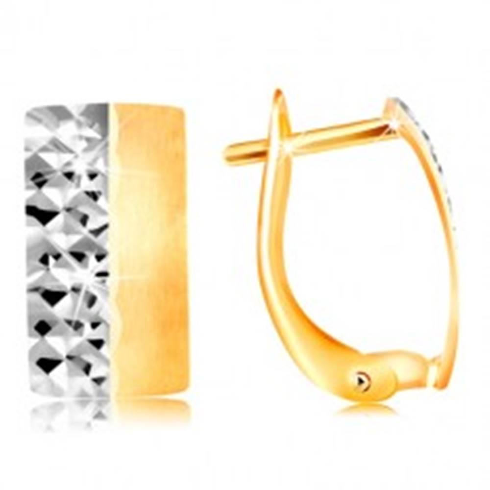 Šperky eshop Zlaté náušnice 585 - matný pás so žltou matnou a bielou ligotavou polovicou