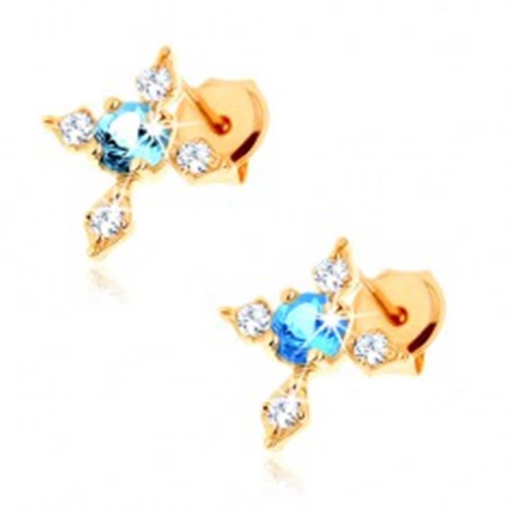 Šperky eshop Zlaté puzetové náušnice 585 - kríž so zirkónovými ramenami, modrý topás