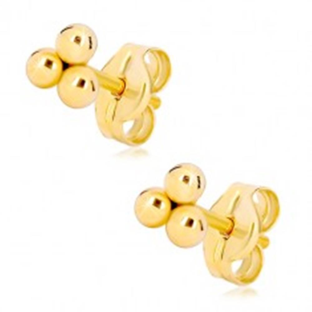 Šperky eshop Zlaté puzetové náušnice 585 - tri malé lesklé guľôčky
