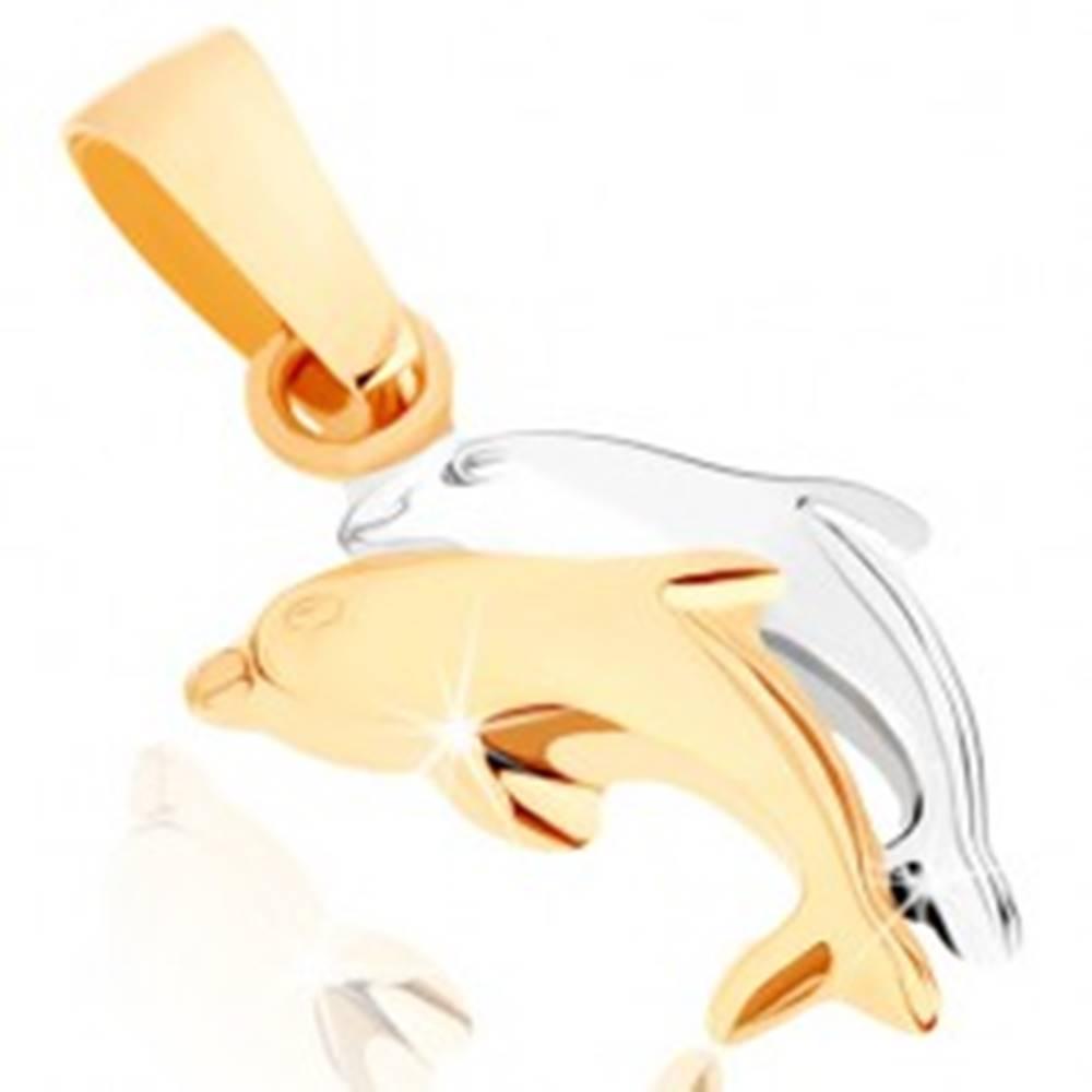 Šperky eshop Zlatý prívesok 375 - dvojfarebné skáčuce delfíny, hladký vypuklý povrch