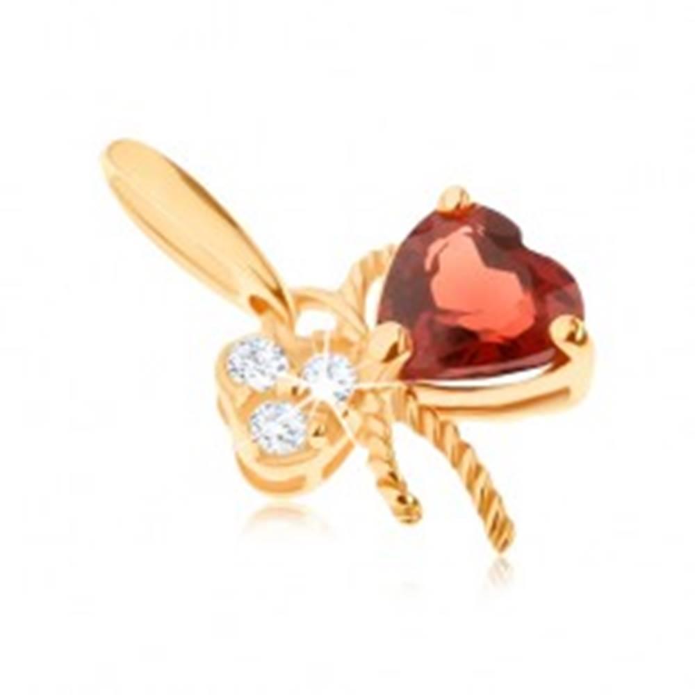 Šperky eshop Zlatý prívesok 585 - mašlička ozdobená červeným granátom a čírymi zirkónmi