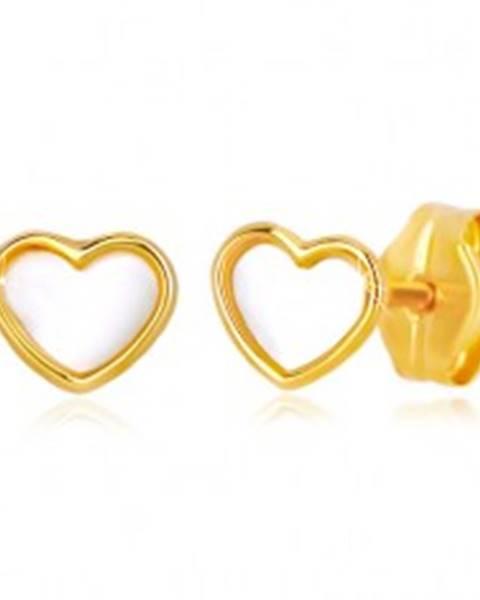 Šperky eshop Puzetové zlaté 14K náušnice srdcového tvaru s prírodnou perleťou