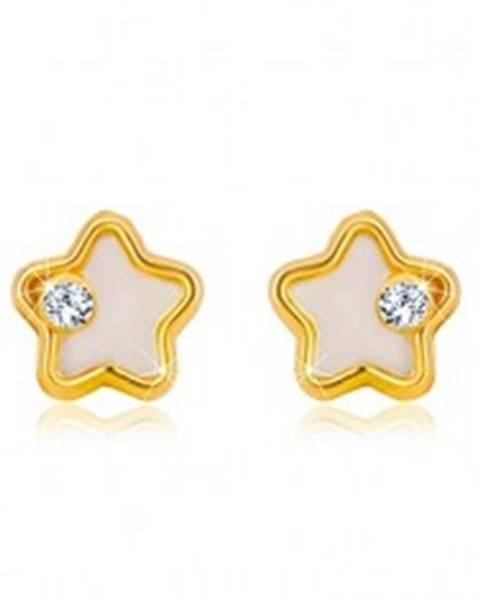 Šperky eshop Zlaté náušnice 585 - hviezdička s bielou prírodnou perleťou a čírym zirkónom