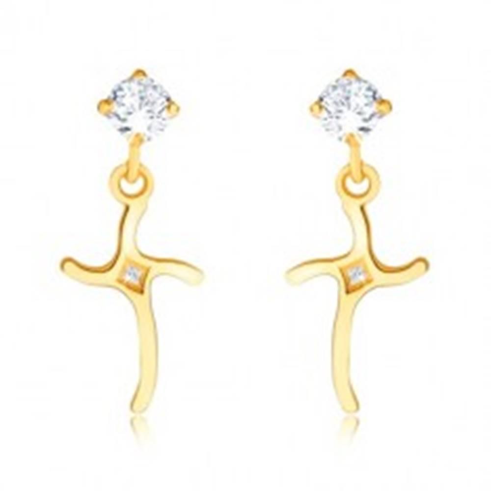 Šperky eshop Briliantové náušnice zo žltého 14K zlata - zvlnený kríž zdobený diamantmi