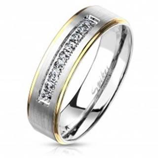 Dvojfarebný oceľový prsteň, strieborný a zlatý odtieň, číre zirkóny, 6 mm - Veľkosť: 49 mm