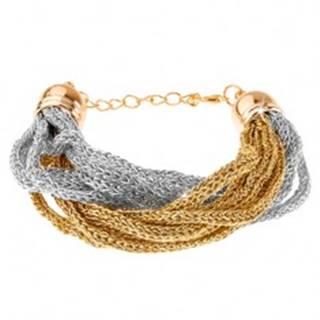 Náramok, pletené retiazky z mäkkých vlákien, zlatá a strieborná farba