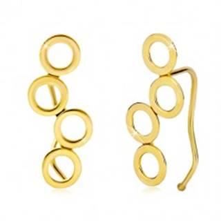 Náušnice v žltom 14K zlate, štyri lesklé spojené kruhy, háčiky