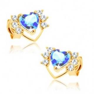 Náušnice v žltom 14K zlate - tenká kontúra srdca so zirkónmi, modrý topás