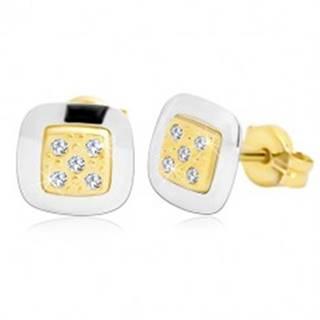Náušnice zo 14K zlata - štvorec s čírymi zirkónmi v strede, žlté a biele zlato