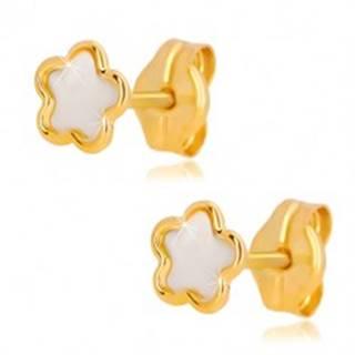 Náušnice zo žltého 14K zlata - kvet s prírodnou perleťou, puzetové